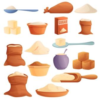 Conjunto de iconos de azúcar, estilo de dibujos animados