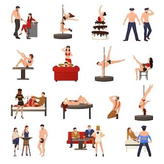 Conjunto de iconos de bailarina exótica