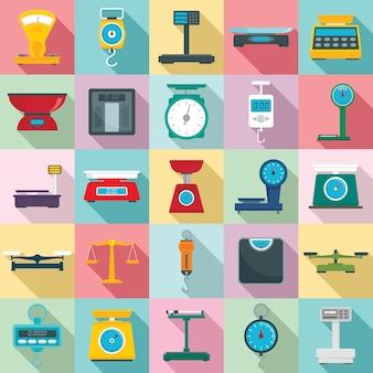 Conjunto de iconos de balanzas, estilo plano