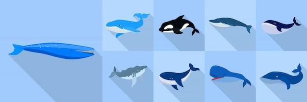Conjunto de iconos de ballena, estilo plano