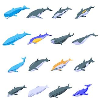 Conjunto de iconos de ballenas, estilo isométrico