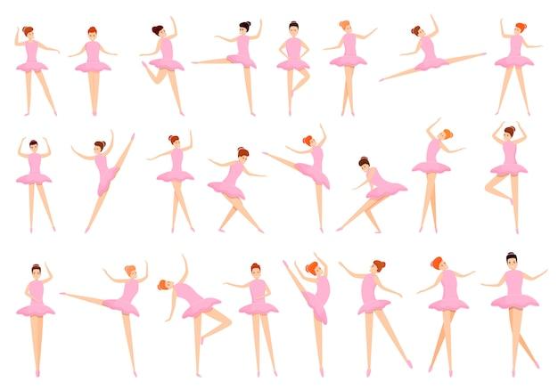 Conjunto de iconos de ballet, estilo de dibujos animados