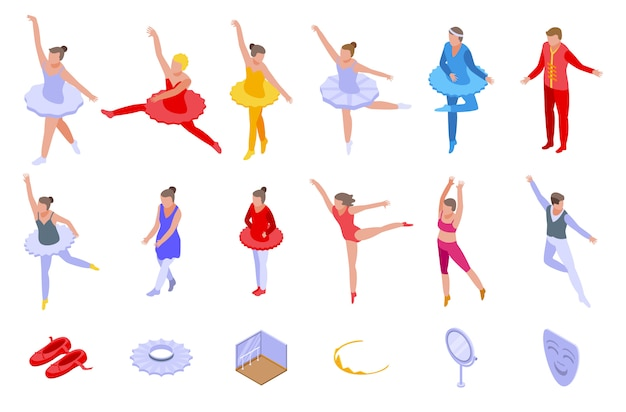 Conjunto de iconos de ballet, estilo isométrico