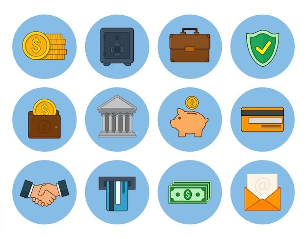Conjunto de iconos de banca y finanzas. ilustración de vector en estilo de línea de arte.