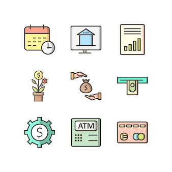 Conjunto de iconos de banca setisolated en blanco