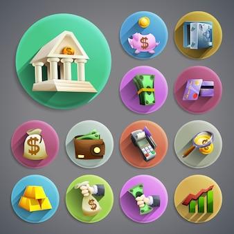Conjunto de iconos de la banca