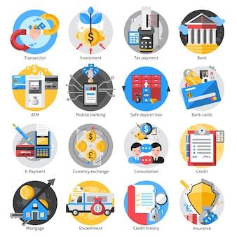 Conjunto de iconos de banca