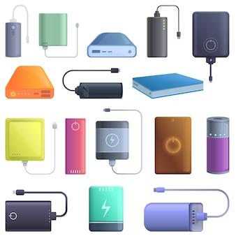 Conjunto de iconos de banco de energía, estilo de dibujos animados