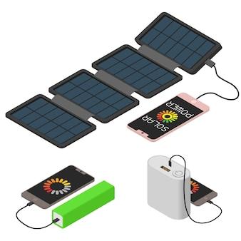 Conjunto de iconos de banco de energía, estilo isométrico