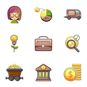 Conjunto de iconos de banco, estilo de dibujos animados