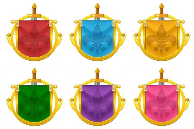 Conjunto de iconos de bandera de caballero con decoración metálica