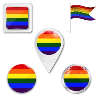 Conjunto de iconos bandera lgbt en diferentes diseños.