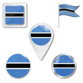 Conjunto de iconos de la bandera nacional de botswana