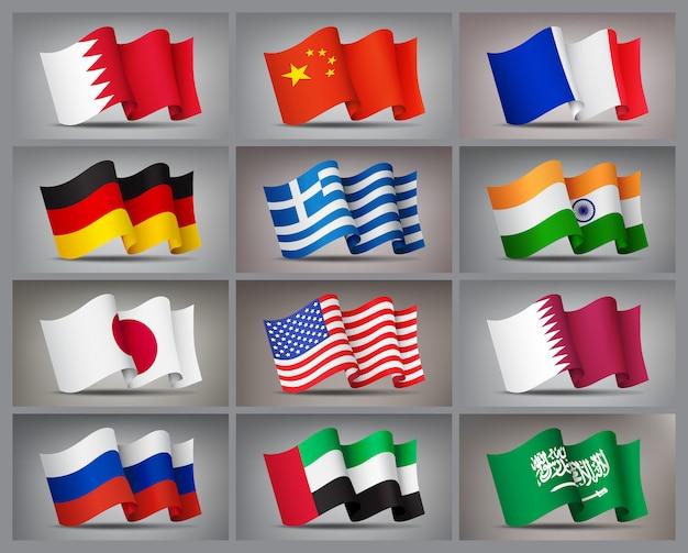 Conjunto de iconos de banderas ondeando aislados, símbolos oficiales de países.