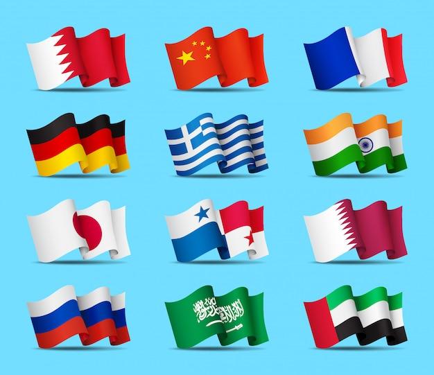 Conjunto de iconos de banderas ondeando, símbolos oficiales de los países, ilustración.