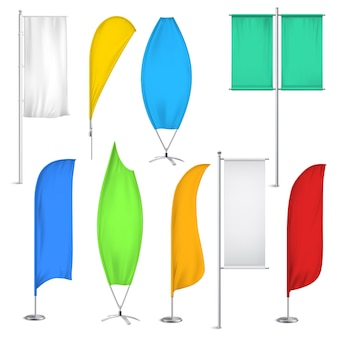Conjunto de iconos de banderas y pancartas de publicidad