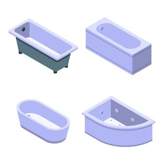 Conjunto de iconos de bañera, estilo isométrico