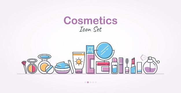 Conjunto de iconos de banner de cosméticos