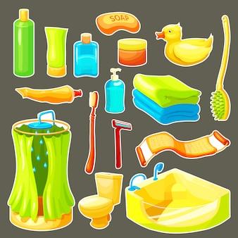 Conjunto de iconos de baño de dibujos animados