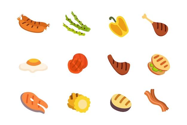 Conjunto de iconos de barbacoa. comida a la parrilla, barbacoa, asado, dibujos animados de bistec