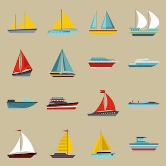 Conjunto de iconos de barco y barco