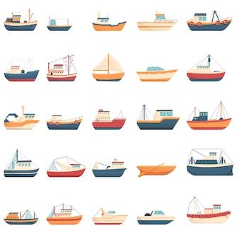 Conjunto de iconos de barco de pesca. iconos de barco de pesca