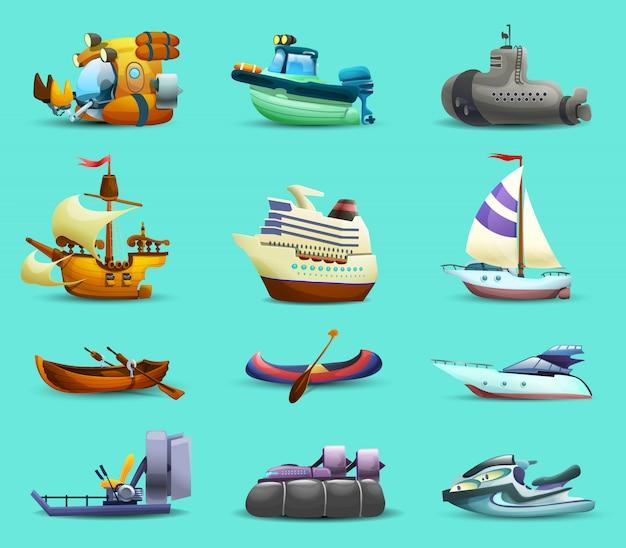Conjunto de iconos de barcos y barcos