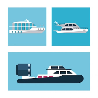 Conjunto de iconos de barcos