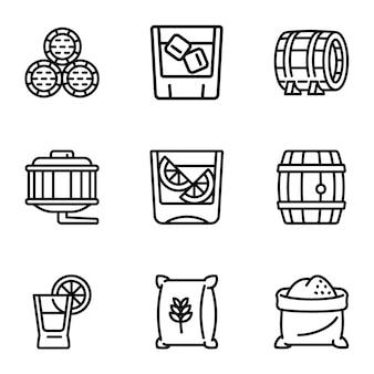 Conjunto de iconos de barril de whisky, estilo de contorno