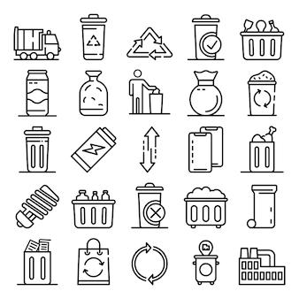 Conjunto de iconos de basura, estilo de contorno