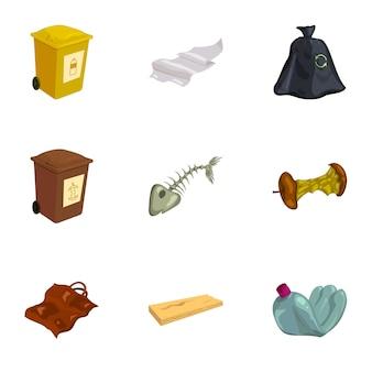 Conjunto de iconos de basura y reciclaje, estilo de dibujos animados