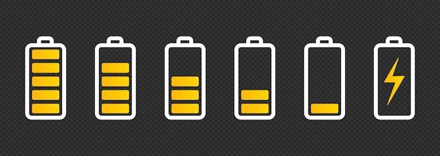 Conjunto de iconos de batería con diferentes niveles de carga