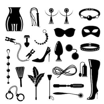 Conjunto de iconos bdsm. bdsm y disciplina, elementos de dominación.