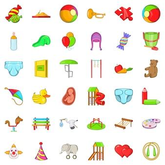 Conjunto de iconos de bebé, estilo de dibujos animados