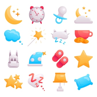 Conjunto de iconos de bebé planos modernos sobre el tema del tiempo de sueño