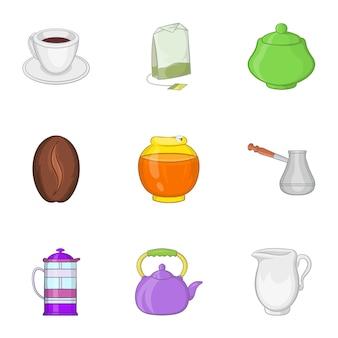 Conjunto de iconos de bebida, estilo de dibujos animados