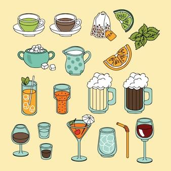 Conjunto de iconos de bebidas y bebidas