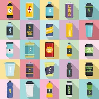 Conjunto de iconos de bebidas energéticas, estilo plano