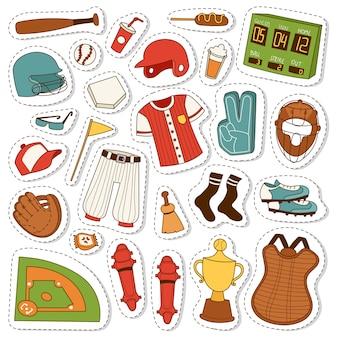Conjunto de iconos de béisbol de dibujos animados.