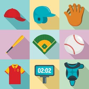 Conjunto de iconos de béisbol, estilo plano