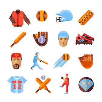 Conjunto de iconos de béisbol