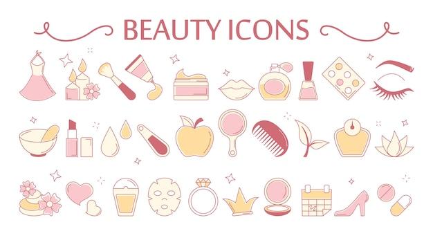 Conjunto de iconos de belleza. colección de cosmética y piel