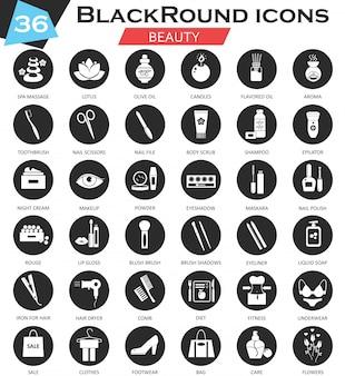Conjunto de iconos de belleza cosméticos círculo negro