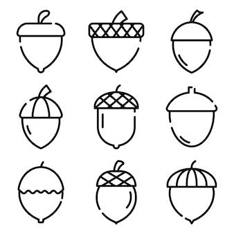 Conjunto de iconos de bellota, estilo de contorno