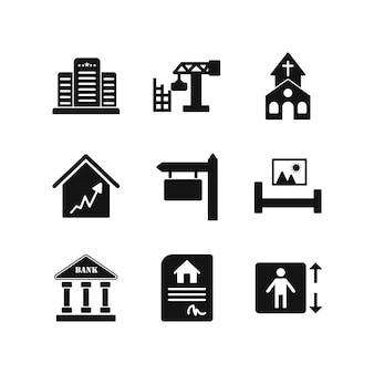 Conjunto de iconos de bienes raíces aislado en blanco