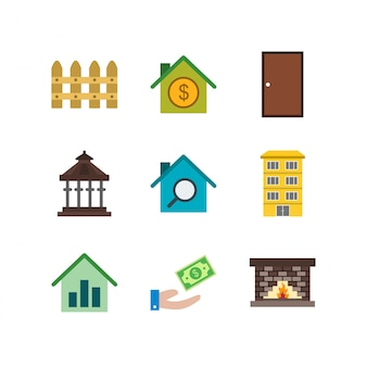 Conjunto de iconos de bienes raíces en elementos aislados de vector blanco