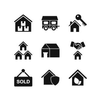 Conjunto de iconos de bienes raíces para uso personal y comercial