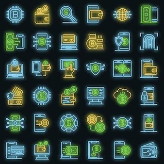 Conjunto de iconos de billetera digital. esquema conjunto de iconos de vector de billetera digital color neón en negro
