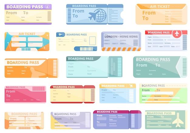 Conjunto de iconos de billetes de avión. conjunto de dibujos animados de iconos de billetes de avión