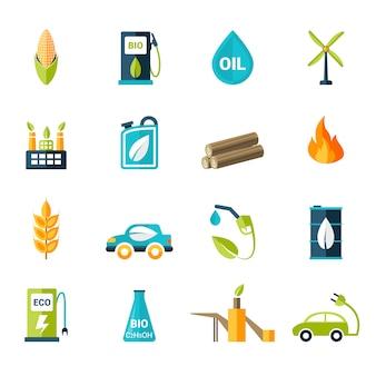 Conjunto de iconos de bio combustible